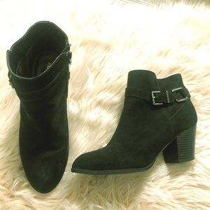 Express Black Faux Suede Buckled Ankle Boots